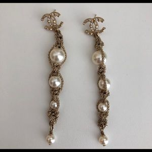 Authentic Chanel gold pearl earrings